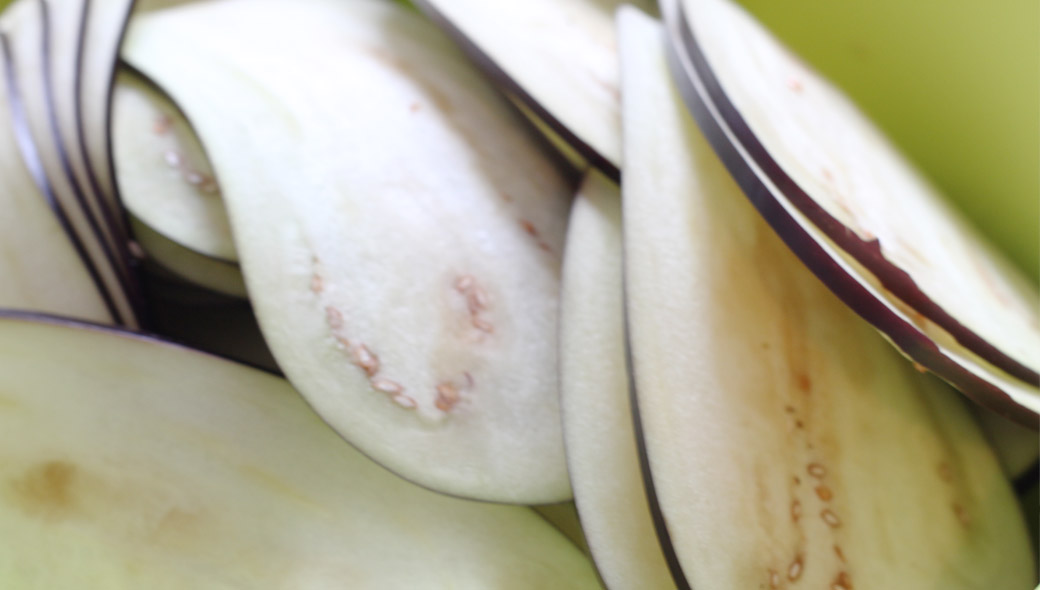 Auberginen geschnitten